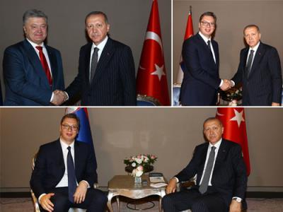 Cumhurbaşkanı Erdoğan, Ukrayna Devlet Başkanı Poroşenko ve Sırbistan Devlet Başkanı Vuçiç ile görüştü