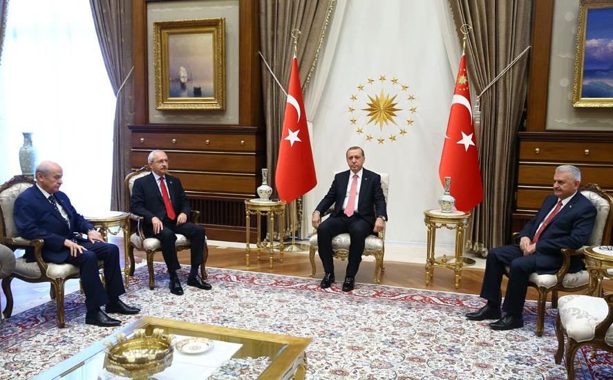 Cumhurbaşkanı Erdoğan ;Yıldırım,Kılıçdaroğlu,Bahçeli ile görüştü