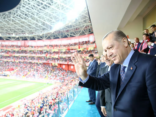 President Erdoğan Watches Turkey-Finland Football Match