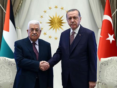 Filistin Devlet Başkanı Abbas Cumhurbaşkanlığı Külliyesinde