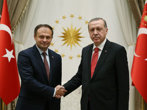 Moldovan Parliament President Andrian at the Presidential Complex