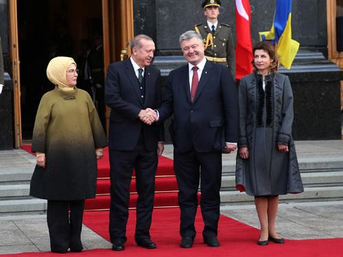 Cumhurbaşkanı Erdoğan, Ukrayna'da Resmî Törenle Karşılandı