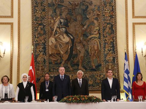Yunanistan Cumhurbaşkanı Pavlopoulos'dan Cumhurbaşkanı Erdoğan Onuruna Akşam Yemeği