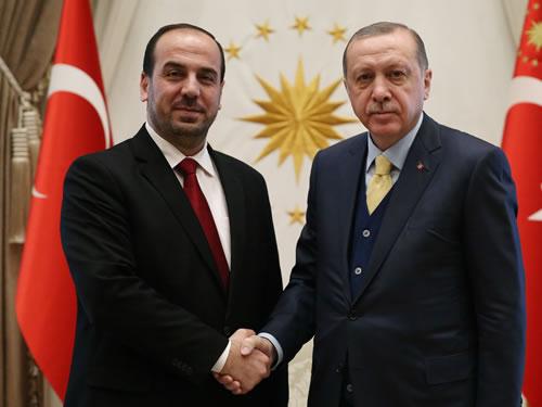 Cumhurbaşkanı Erdoğan, Suriye Muhalefeti Müzakere Yüksek Kurulu Başkanı Hariri'yi Kabul Etti