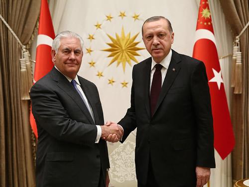 Cumhurbaşkanı Erdoğan, ABD Dışişleri Bakanı Tillerson'u Kabul Etti