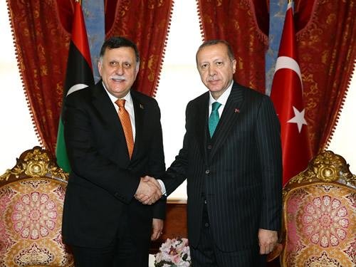 Cumhurbaşkanı Erdoğan, Libya Başkanlık Konseyi Başkanı El Sarrac'ı kabul etti